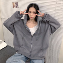 Zip Up Sweatshirt Spring Autumn Jacket Clothes oversize Hoodies Women plus size Vintage Pockets Long Sleeve Pullovers Gray New
