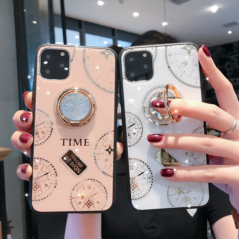 For Xiaomi Mi 9T Remdi K20 8 8A K30 Pro <font><b>Note</b></font> 8T <font><b>9</b></font> Pro Max <font><b>Case</b></font> Luxury Diamond clock <font><b>With</b></font> <font><b>Ring</b></font> Stand protective Phone Cover Coque image