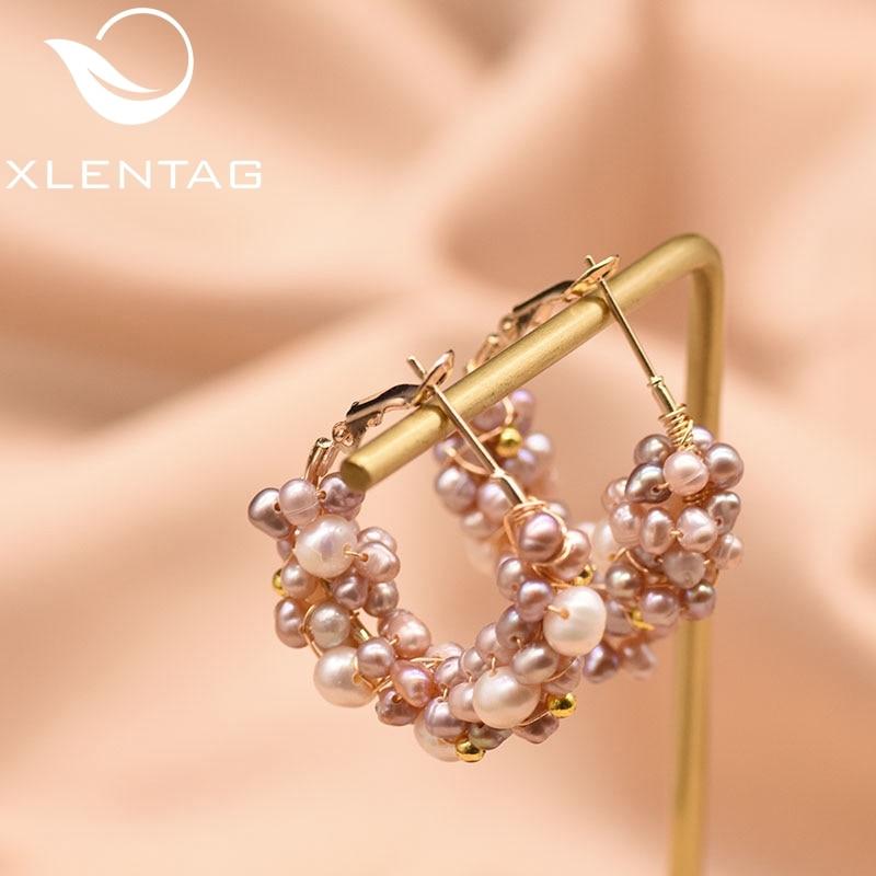 XlentAg Big Hoop Earrings 100% Natural Fresh Water Pearl For Women Girl Wedding Party Handmade Fine Jewellery Oorbellen GE0853