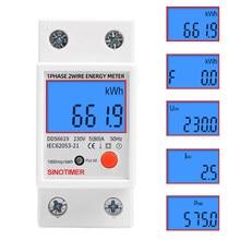 Einphasig Digital LCD Strom Kwh Wattmeter Power Verbrauch Energie Meter Outlet Analysator Elektrische Din Schiene 230V