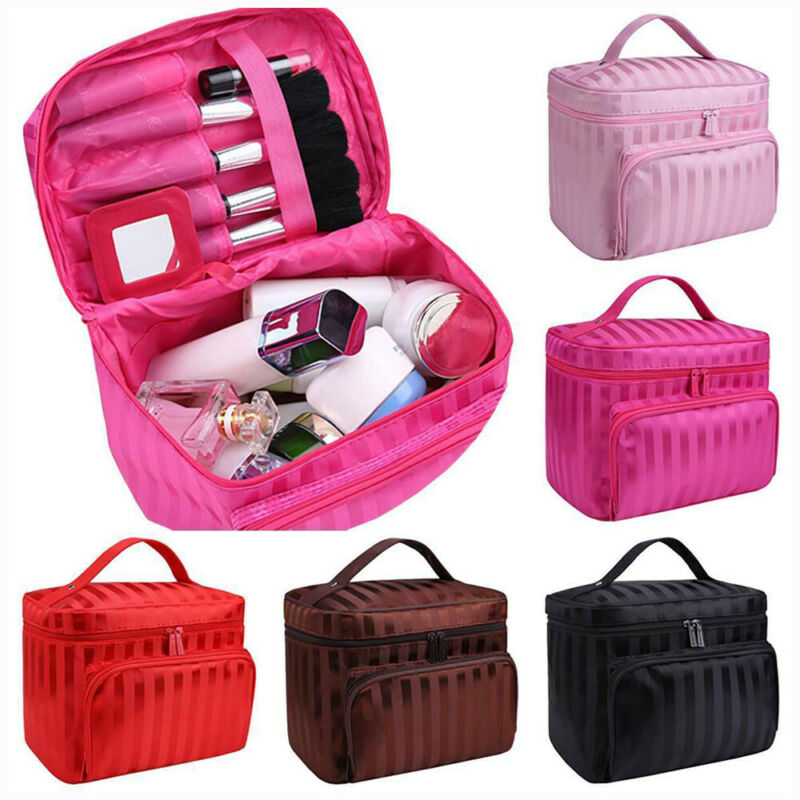 Fashion Women Men Unisex Stiff Cosmetic Case Zipper Striped Solid Large Portable Hanging Make Up Bag Sundries Storage Organizer