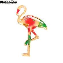 Wuli & baby Neue Stil Emaille Flamingo Vogel Broschen Für Frauen Schönheit Vogel Hochzeiten Büro Casual Brosche Pins Geschenke