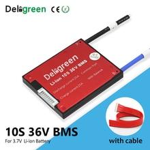 Deligreen 3.7V BMS 10S 36VสำหรับLITHIUM Li Ion Battery Pack 18650 15A 20A 30A 40A 50A 60A BMSสำหรับeBikeพร้อมBalance