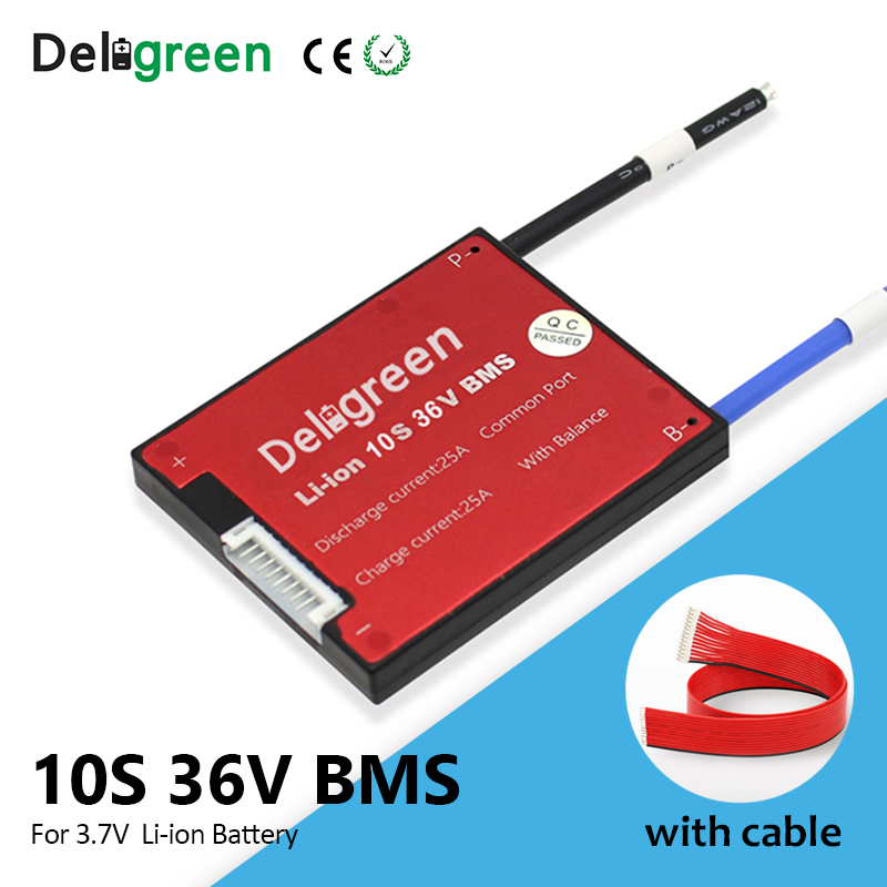 Deligreen 3.7V BMS 10S 36V For Lithium Li-ion Battery Pack 18650 15A 25A 35A 45A 60A Bms For Ebike With Balance