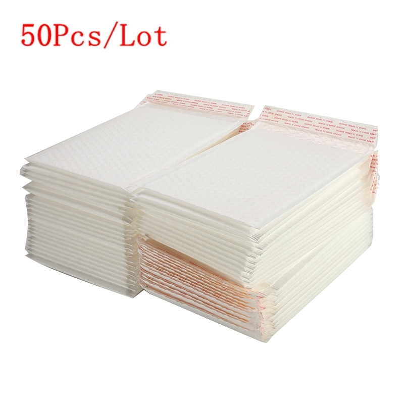 50Pcs/Lot Matte White Bubble Film Envelope Bag Different Specifications Foam Express Delivery Packaging Mailing Bag