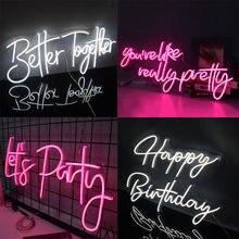 Neon-sinal-personalizado decorativo-letras de luz-palavras festa de casamento interior rosa design nome da arte cama pub quarto decoração de parede