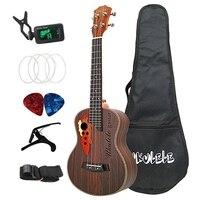26 дюймов Тенор укулеле виноград звук отверстие Гавайская гитара 4 струны палисандр Ukelele набор с сумкой