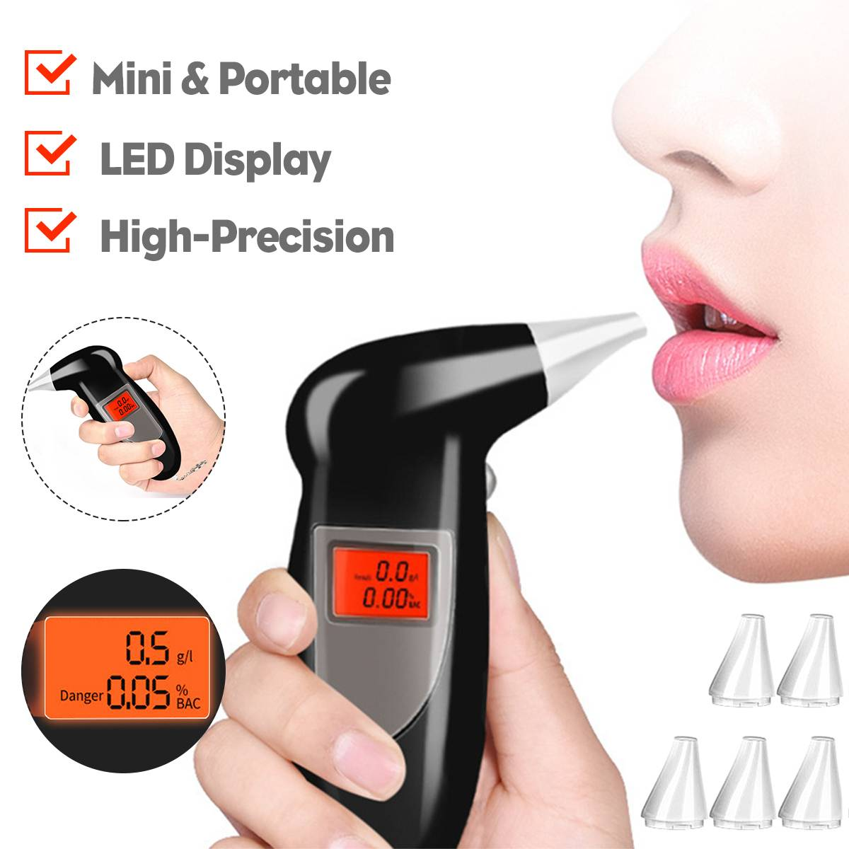 Alcohol-Breath-Tester Breathalizer-Device Detector Test-Keychain with 5pcs Car-Driver