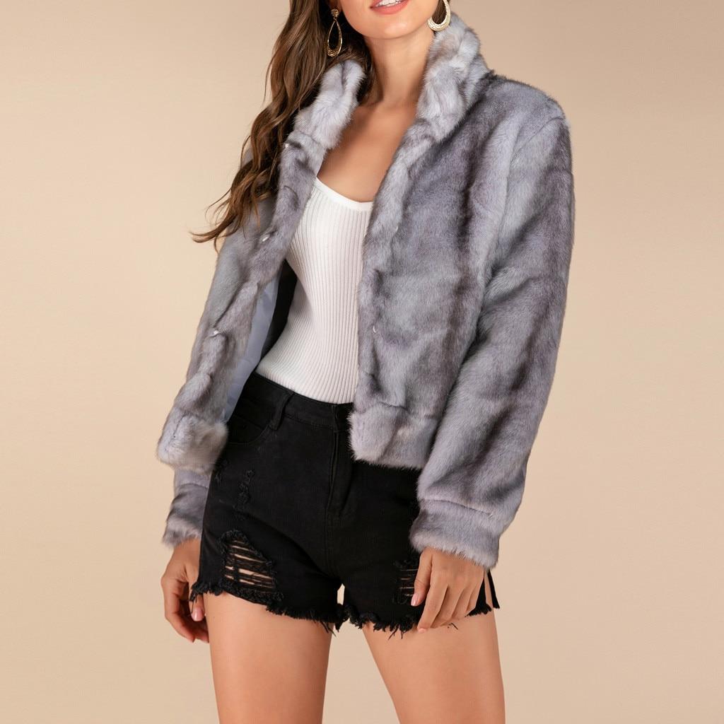 Femmes épais chaud fourrure d'agneau laine veste 2019 hiver bouton court manteau Turn-down col manteaux poilu pardessus Cardigan