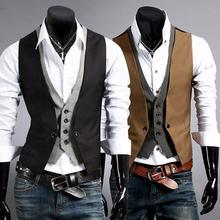 Мужское короткое пальто в формальном стиле, жилет, деловой однотонный жилет на одной пуговице, жилет из двух частей, v-образный вырез, Повседневный, S-lim chalecos para hombre