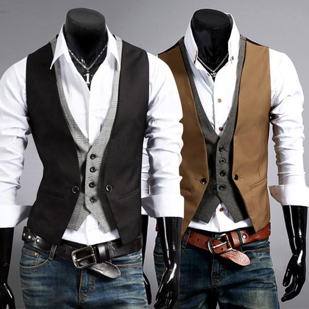 Men Formal Waistcoat Vest Business Solid Color Single Button Vest Gilet Fake Two-pieces V Neck Casual S-lim Chalecos Para Hombre
