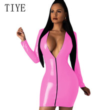 TIYE High Elasticity Sheath Sexy Deep V Neck Faux Leather Short Dress Women PU Leather Zippers Dresses Elegant Hollow Out Dress trendy pu leather square neck overall dress for women