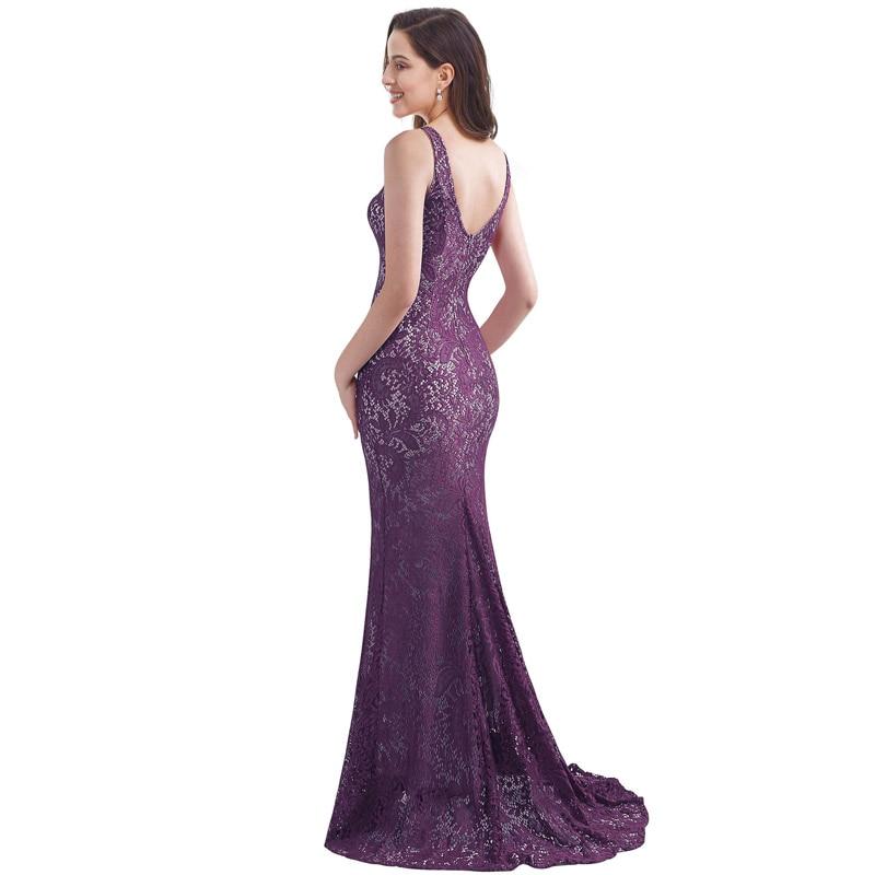 It's Yiiya Evening Gown Sleeveless Split Mermaid O-Neck Robe De Soiree C446 Lace Court Train Backless Dress Woman Party
