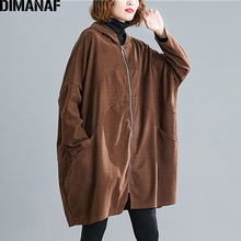 DIMANAF Plus Size Women Jackets Coats Autumn Oversize Outerwear Zipper Hooded Solid Loose Long Sleeve Cardigan Female Clothes