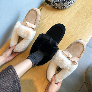 Image 4 - 2019 Winter Faux Fur Shoes Woman Loafers Warm Fluffy Plush Flock Bowtie Boat Ballet Flats Soft Roll Egg Peas Oxfords Moccasins