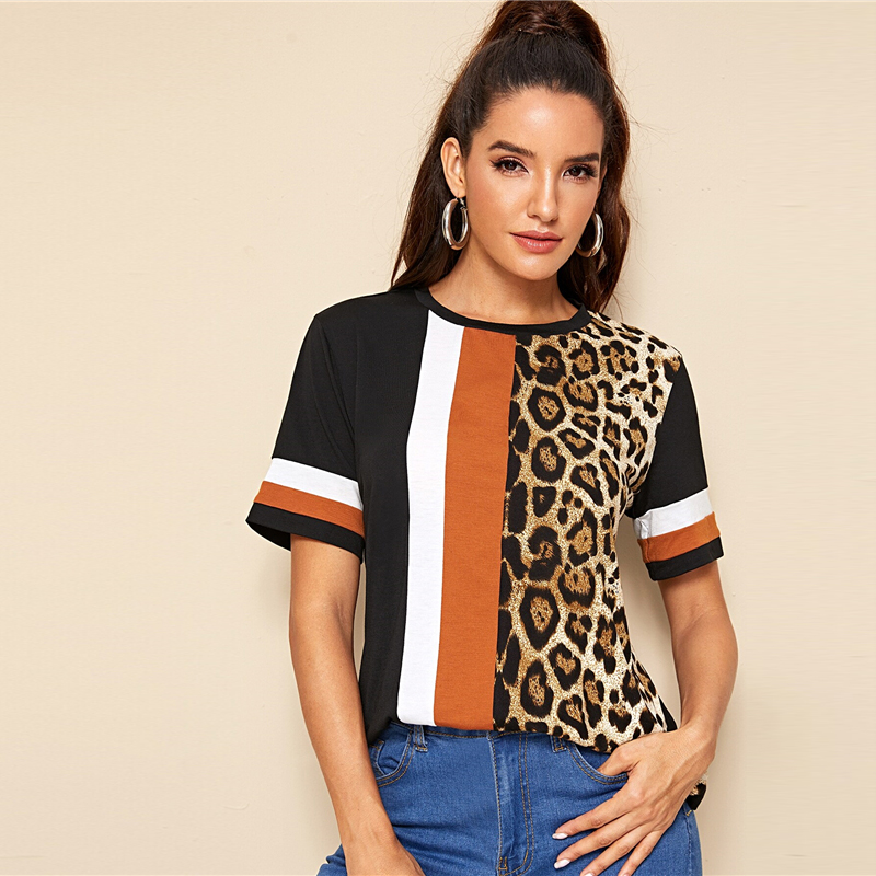 Block Cut-and-Sew Leopard Panel Top Short Sleeve O-Neck Casual T Shirt 64