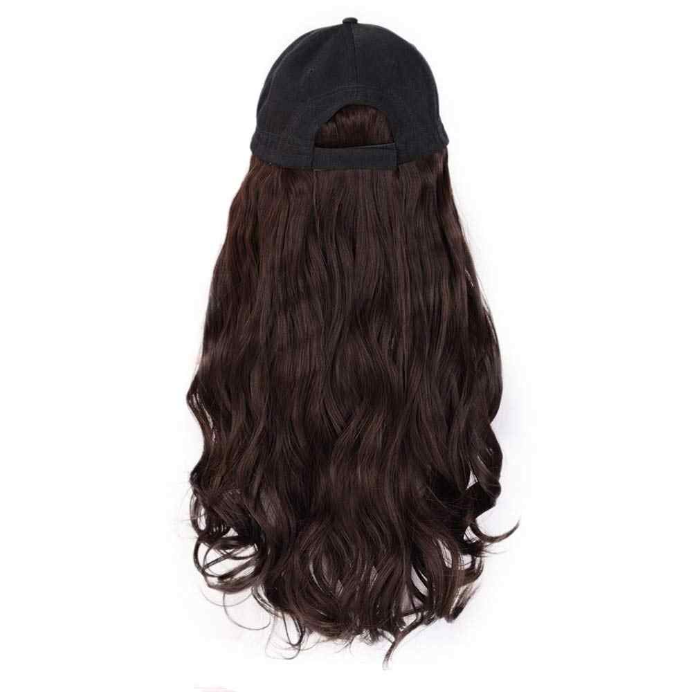 Zwarte Baseball Cap Met Synthetische Hair Extensions Straight Haarstukje Pruik Met Baseball Hoed Met Haar Licht Bruin Halo Lady
