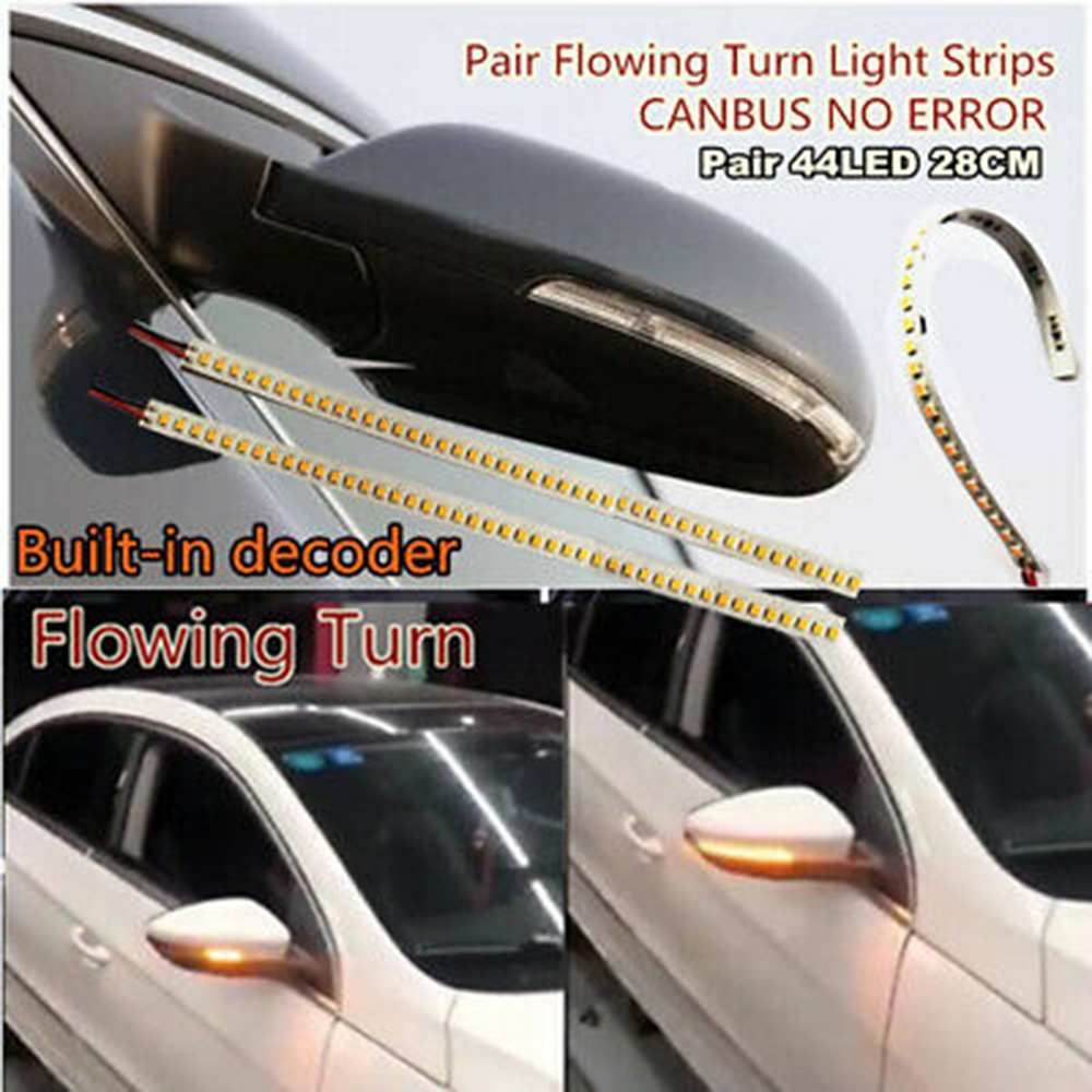Flashing 32 LED Amber Car Rear Mirror Flexible LED Strip Turn Signal Lights 12V