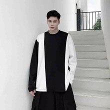 Autumn 2020 original design sense long sleeve t-shirt men's fashion label ins loose Japanese black and white color contrast stit