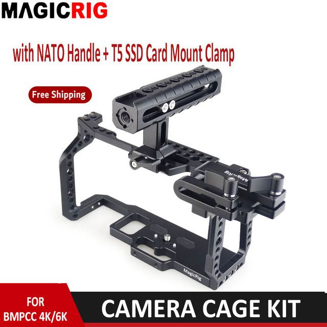 MAGICRIG  Portable Camera Cage  With NATO Handle Grip + T5 SSD Card Mount Clamp for Blackmagic Pocket Cinema Camera BMPCC 4K&6K