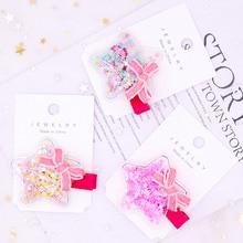 AHB Hair Accessories Korean PVC Barrettes for Girls Cute Bowknot Glitter Stars Hairpins Gift BB Clips Kids