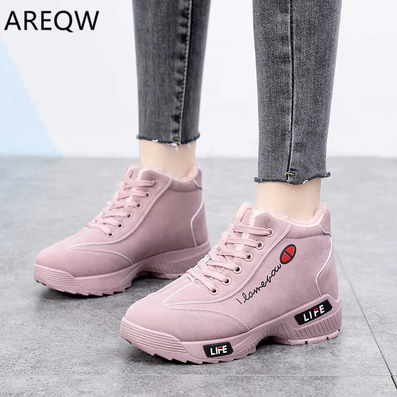 Shoes Woman Flat Ankle Snow Motorcycle Boots Female Suede Leather Lace-Up Rubber Winter Boots Women Botas Mujer Snow Boots
