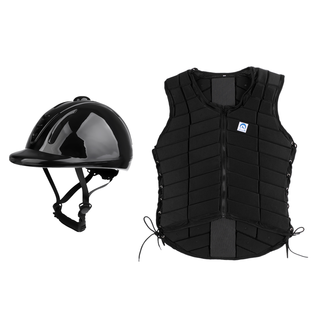Women Medium Safety Body Protector Vest + Helmet Hard Cap For Equestrian Horse Riding