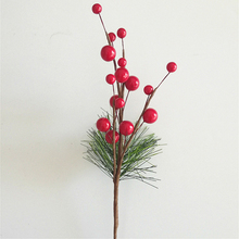 Christmas Simulation Berry Branch Red Bubble Artificial Flower DIY Handmade Raw for Tree Decorations