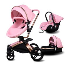 Babyfond Baby Stroller 3 in 1 Newborn Two-way Foldable Four-