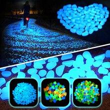 300 шт. садовое украшение светящиеся галечные камни светится в темноте декоративная галька Аквариум Украшение галька аквариумные камни