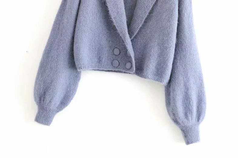 Rajutan Musim Dingin Jaket Wanita Double Breasted Cardigan Mantel Korea Cardigan Sweater Wanita Atasan