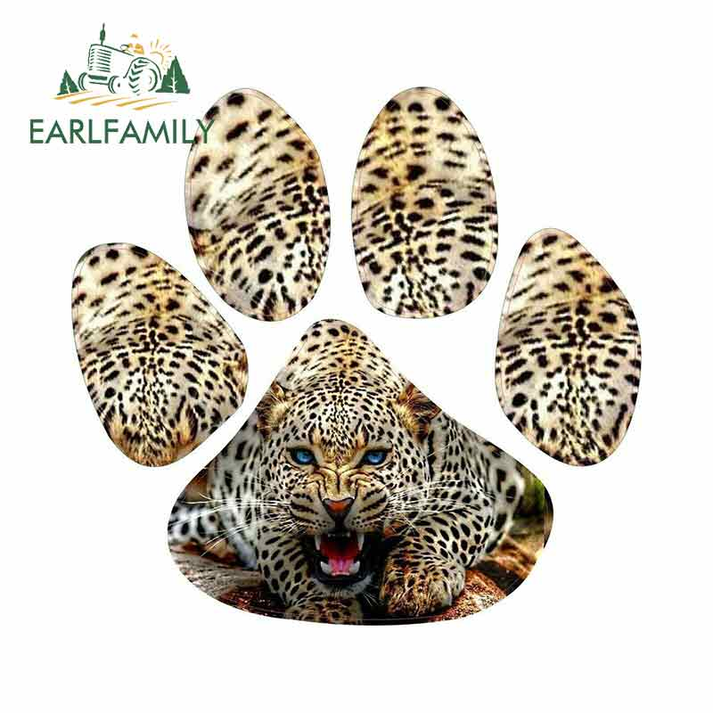 EARLFAMILY 13cm X 12.3cm For Leopard Animal Paw Print Cartoon Car Stickers JDM Vinyl Car Wrap Bumper Trunk Truck Graphics