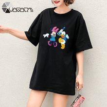 Summer Women Minnie Mickey Mouse Daisy Donald Duck Goofy Tops Short Sleeve Cartoon Printed T Shirt Casual Fashion Tee Femme tsum tsum mini plush doll toys phone screen brush donald daisy mickey minnie mouse pluto goofy chip dale christmas edition