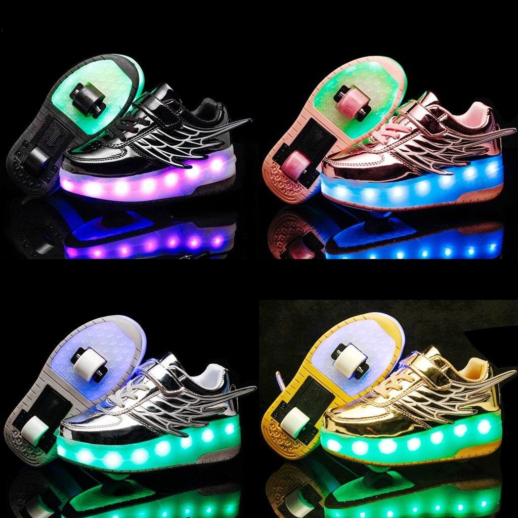 Детская обувь; кроссовки Heelies для мальчиков; детская обувь с двойными колесами; Chaussure enfant Sapato infantil; светящаяся обувь; детская обувь на липучке