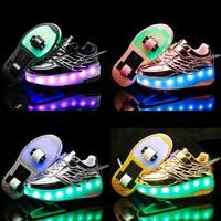 Kids shoes boys Heelies Sneakers double wheels Children shoes Chaussure enfant Sapato infantil glowing shoes kids Hook & Loop