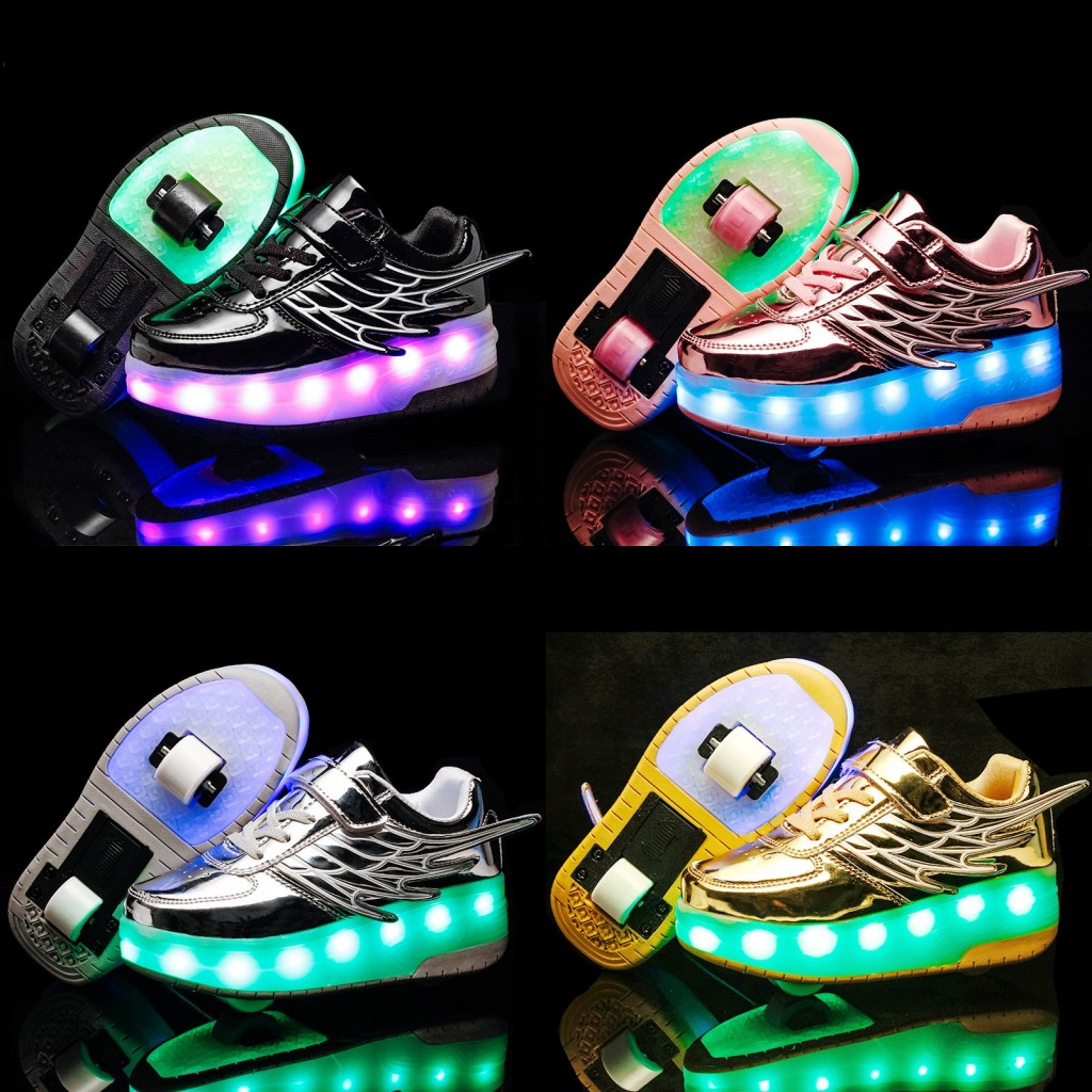 Kids Shoes Boys Heelies Sneakers Double Wheels Children Shoes Chaussure Enfant Sapato Infantil Glowing Shoes Kids Hook & Loop