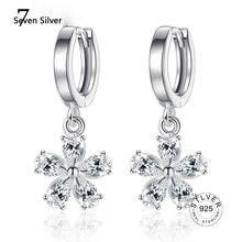 Anenjery 925 ayar gümüş kiraz çiçek bırak küpe kadınlar için zirkon küpe oorbellen brincos pendientes S-E422