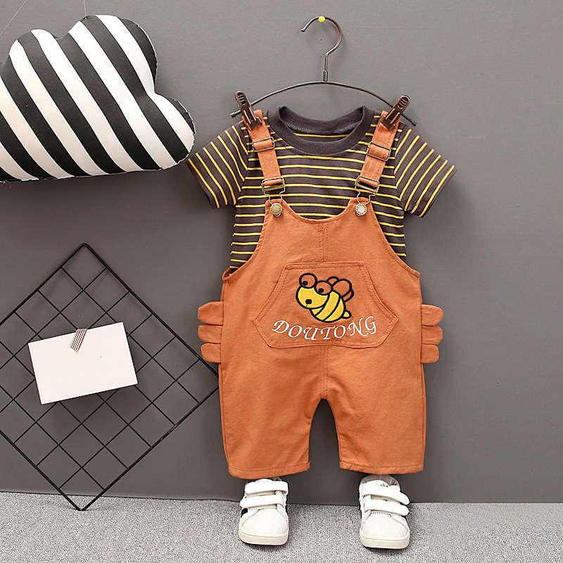 Baby-clothes-Set-2019-Summer-New-Children-Boys-Girls-Short-Sleeve-Striped-Top-Little-Bees-Bib