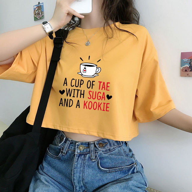 A CUP OF TAE WITH SUGA AND A KOOKIE CROP TOP T-SHIRT