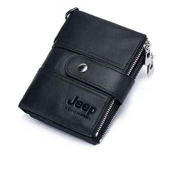 100% Genuine Leather Rfid Wallet Men Crazy Horse Wallets Coin Purse Short Male Money Bag Mini Walet High Quality Boys 22