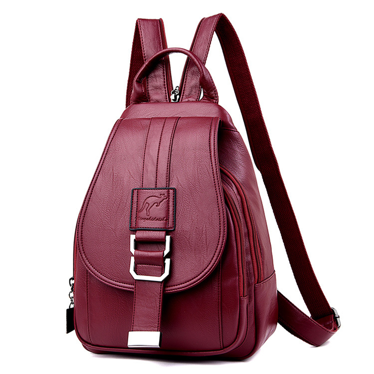 MANHAN Backpack Women 2020 New Fashion Solid Women Backpack School Bags For Teenage Girls Soft PU Leather Backpack Female
