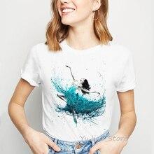 vogue t shirt women clothes 2019 Watercolor Dancer Print female t-shirt Kingfisher cute tshirt femme harajuku ulzzang tops