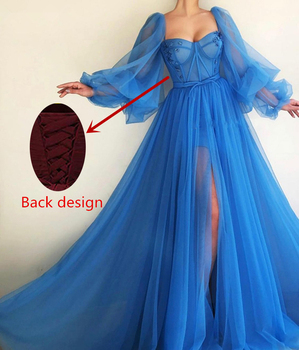 LORIE 2019 Long Puffy Sleeve Blue Prom Dresses Tulle Backless Lacing Evening Gowns Evening Party Gown Robe De Soiree Plus Size 4
