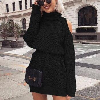 Φθινόπωρινό Χειμερινό πλεκτό πουλόβερ Φόρεμα για γυναίκες Φορέματα Ρούχα MSOW