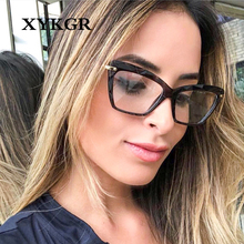 XYKGR new glasses frame ladies fashion TR90 transparent flat mirror retro cat eye myopia
