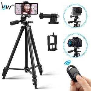 Легкий штатив для телефона 50 дюймов/127 см для камеры с держателем телефона и пультом дистанционного управления Gopro, дорожный штатив с сумкой ...