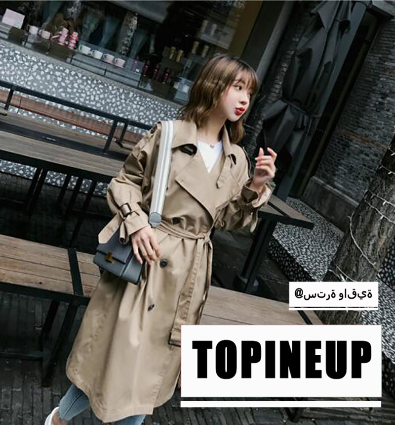 2019 The New Korean Windshirt Coat Khaki Soft Loose Double Breasted Turn-Down Collar Women Trench Coat With Belt