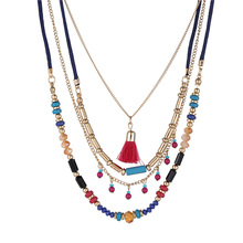 купить Bohemian Multi Layers Necklaces Colorful Beads Tassel Maxi Long Ethnic Chain Jewelry Statement Necklace for Women Collar дешево