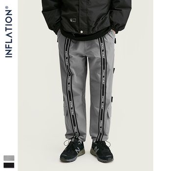 INFLATION Windbreaker Men Jogger Pants With Woven Tapes Loose Fit Jogger Pants 2019 Streetwear Men Casual Jogger Pants 93455W фото
