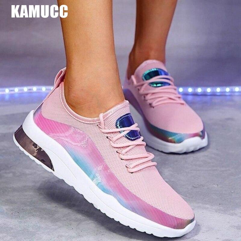 Кроссовки женские цветные на шнуровке, Вулканизированная подошва, повседневная спортивная обувь для бега